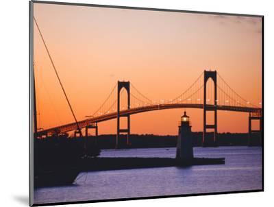 Newport Bridge and Harbor at Sunset, Newport, Rhode Island, USA-Fraser Hall-Mounted Photographic Print