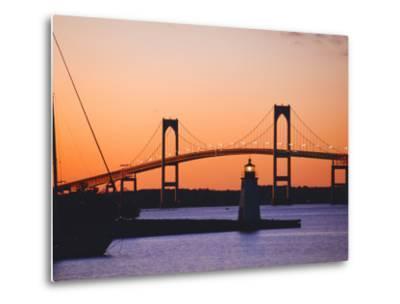 Newport Bridge and Harbor at Sunset, Newport, Rhode Island, USA-Fraser Hall-Metal Print