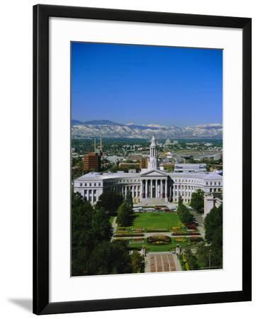 The Civic Center and Rockies Beyond, Denver, Colorado, USA-Jean Brooks-Framed Photographic Print