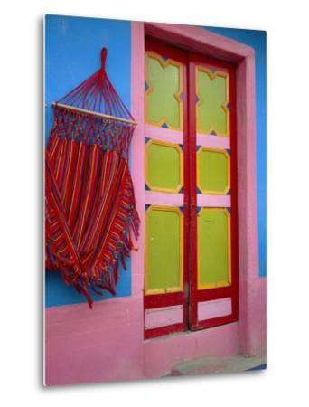 Close-up of Doorway and Hammock, Raquira, Boyaca Region, Columbia, South America-D Mace-Metal Print