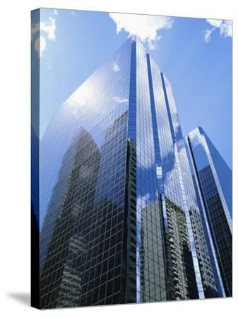 Reflections in Glass of a Modern Skyscraper, Downtown, Calgary, Alberta, Canada-Ethel Davies-Stretched Canvas Print