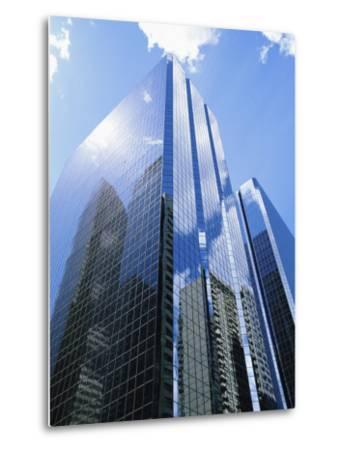 Reflections in Glass of a Modern Skyscraper, Downtown, Calgary, Alberta, Canada-Ethel Davies-Metal Print