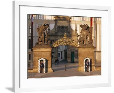 Palace Guards Outside First Courtyard, Prague Castle, Prague, Czech Republic, Europe-Neale Clarke-Framed Photographic Print