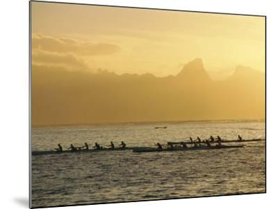 Boats at Sea, French Polynesia-Sylvain Grandadam-Mounted Photographic Print