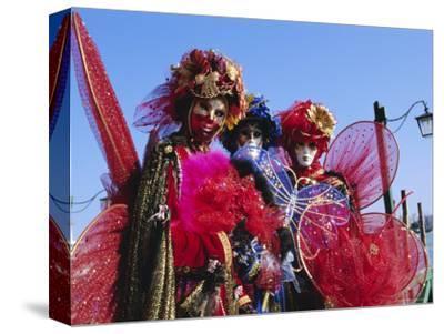 People Wearing Masked Carnival Costumes, Venice Carnival, Venice, Veneto, Italy-Bruno Morandi-Stretched Canvas Print