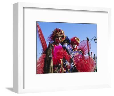 People Wearing Masked Carnival Costumes, Venice Carnival, Venice, Veneto, Italy-Bruno Morandi-Framed Photographic Print
