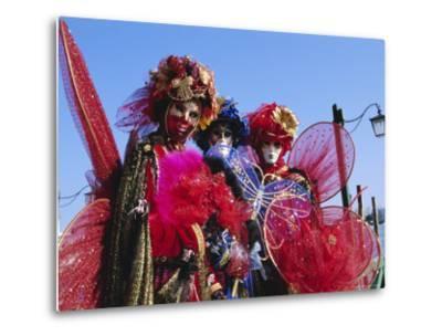 People Wearing Masked Carnival Costumes, Venice Carnival, Venice, Veneto, Italy-Bruno Morandi-Metal Print