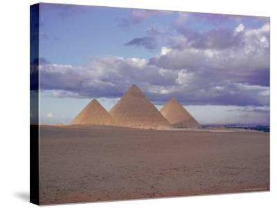 Pyramid of Menkewre (Left), Pyramid of Chephren (Centre), Pyramid of Cheops (Right), Giza, Egypt-Walter Rawlings-Stretched Canvas Print