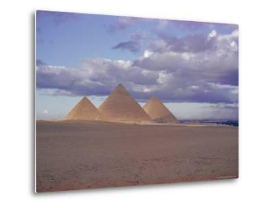 Pyramid of Menkewre (Left), Pyramid of Chephren (Centre), Pyramid of Cheops (Right), Giza, Egypt-Walter Rawlings-Metal Print