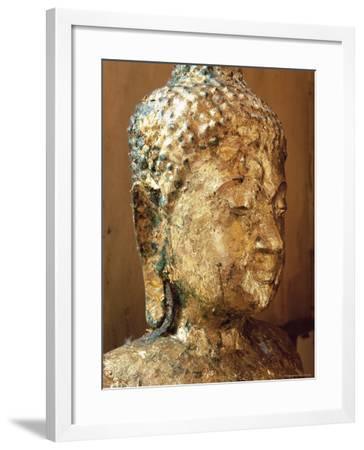 Close-Up of the Head of a Statue of the Buddha Covered in Gold Leaf, Thailand-Gavin Hellier-Framed Photographic Print