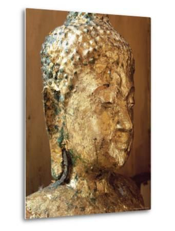Close-Up of the Head of a Statue of the Buddha Covered in Gold Leaf, Thailand-Gavin Hellier-Metal Print