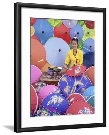 Woman Painting Umbrellas, Northern Thailand, Thailand-Gavin Hellier-Framed Photographic Print