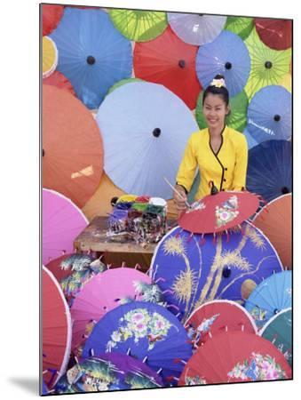 Woman Painting Umbrellas, Northern Thailand, Thailand-Gavin Hellier-Mounted Photographic Print