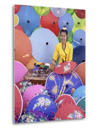 Woman Painting Umbrellas, Northern Thailand, Thailand-Gavin Hellier-Metal Print
