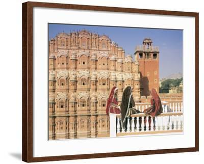 Women in Saris in Front of the Facade of the Palace of the Winds (Hawa Mahal), Jaipur, India-Gavin Hellier-Framed Photographic Print