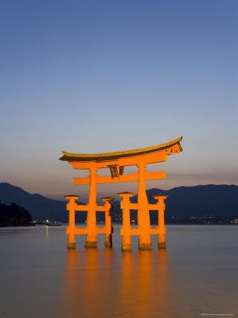 Shinto Shrine Illuminated at Dusk, Island of Honshu, Japan-Gavin Hellier-Framed Photographic Print