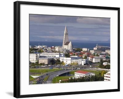 The 75M Tall Steeple and Vast Modernist Church of Hallgrimskirkja, Reykjavik, Iceland-Gavin Hellier-Framed Photographic Print