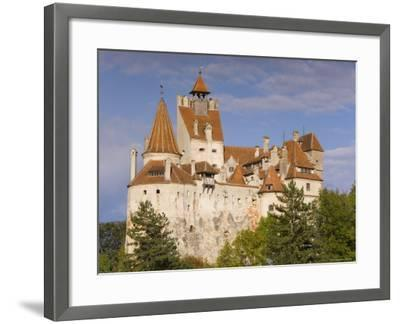 Bran Castle Perched Atop a 60M Peak in the Centre of the Village, Saxon Land, Transylvania-Gavin Hellier-Framed Photographic Print