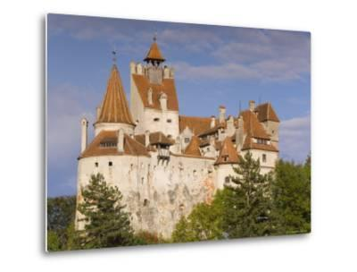 Bran Castle Perched Atop a 60M Peak in the Centre of the Village, Saxon Land, Transylvania-Gavin Hellier-Metal Print