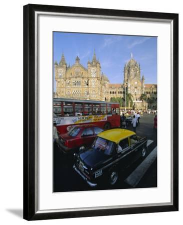 Traffic in Front of the Station, Victoria Railway Terminus, Mumbai, Maharashtra State, India-Gavin Hellier-Framed Photographic Print