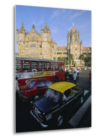 Traffic in Front of the Station, Victoria Railway Terminus, Mumbai, Maharashtra State, India-Gavin Hellier-Metal Print