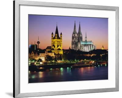 The Cathedral and River Rhine, Cologne, North Rhine Westphalia,, Germany-Gavin Hellier-Framed Photographic Print