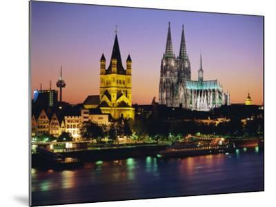 The Cathedral and River Rhine, Cologne, North Rhine Westphalia,, Germany-Gavin Hellier-Mounted Photographic Print