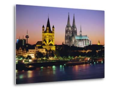 The Cathedral and River Rhine, Cologne, North Rhine Westphalia,, Germany-Gavin Hellier-Metal Print