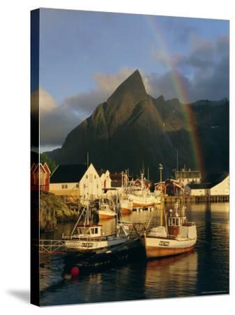 Rainbow Over Colourful Fishing Village of Hamnoy, Moskenesoya, Lofoten Islands, Nordland, Norway-Gavin Hellier-Stretched Canvas Print