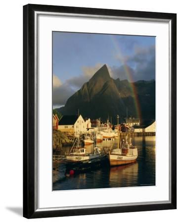 Rainbow Over Colourful Fishing Village of Hamnoy, Moskenesoya, Lofoten Islands, Nordland, Norway-Gavin Hellier-Framed Photographic Print