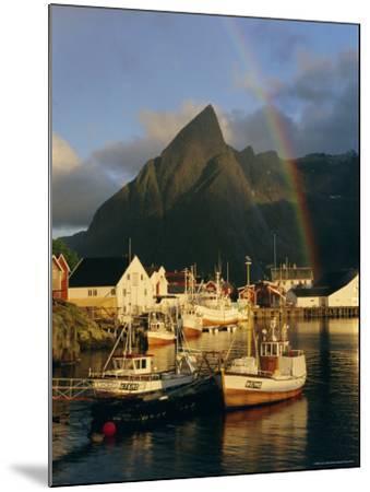 Rainbow Over Colourful Fishing Village of Hamnoy, Moskenesoya, Lofoten Islands, Nordland, Norway-Gavin Hellier-Mounted Photographic Print