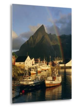 Rainbow Over Colourful Fishing Village of Hamnoy, Moskenesoya, Lofoten Islands, Nordland, Norway-Gavin Hellier-Metal Print