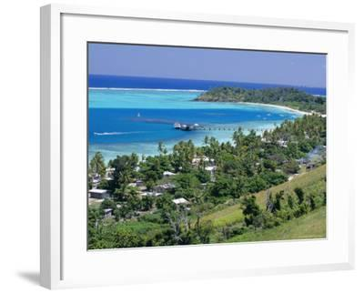 Resort Huts Beside Coral Sand Beach, Fiji, South Pacific Islands-Anthony Waltham-Framed Photographic Print