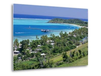 Resort Huts Beside Coral Sand Beach, Fiji, South Pacific Islands-Anthony Waltham-Metal Print