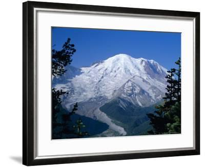 Mount Rainier, Volcanic Peak, and Emmons Glacier from Summit Icefield, Washington State, USA-Anthony Waltham-Framed Photographic Print