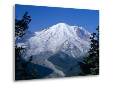 Mount Rainier, Volcanic Peak, and Emmons Glacier from Summit Icefield, Washington State, USA-Anthony Waltham-Metal Print