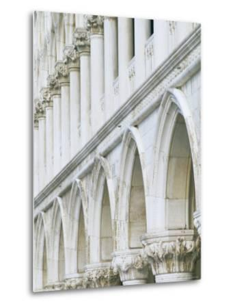 White Columns and Arches of Ducale Palace, St. Mark's Square, Venice, Veneto, Italy-Lee Frost-Metal Print