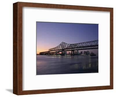 Mississippi River Bridge in the Evening and City Beyond, New Orleans, Louisiana-Charles Bowman-Framed Photographic Print