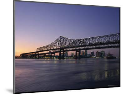 Mississippi River Bridge in the Evening and City Beyond, New Orleans, Louisiana-Charles Bowman-Mounted Photographic Print