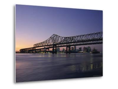 Mississippi River Bridge in the Evening and City Beyond, New Orleans, Louisiana-Charles Bowman-Metal Print
