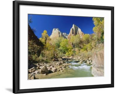 Peaks of Abraham and Isaac Tower Above the Virgin River, Utah, USA-Ruth Tomlinson-Framed Photographic Print