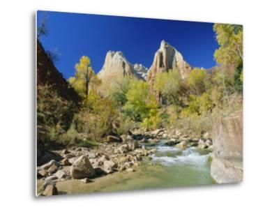 Peaks of Abraham and Isaac Tower Above the Virgin River, Utah, USA-Ruth Tomlinson-Metal Print