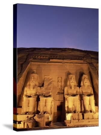 Floodlit Temple Facade and Colossi of Ramses II (Ramesses the Great), Abu Simbel, Nubia, Egypt-Upperhall Ltd-Stretched Canvas Print