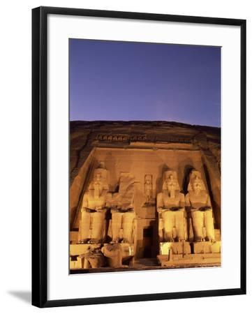 Floodlit Temple Facade and Colossi of Ramses II (Ramesses the Great), Abu Simbel, Nubia, Egypt-Upperhall Ltd-Framed Photographic Print