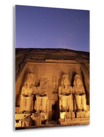 Floodlit Temple Facade and Colossi of Ramses II (Ramesses the Great), Abu Simbel, Nubia, Egypt-Upperhall Ltd-Metal Print