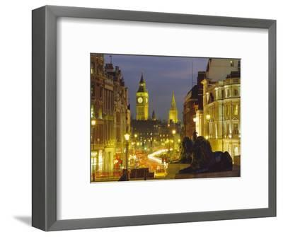 Evening View from Trafalgar Square Down Whitehall with Big Ben in the Background, London, England-Roy Rainford-Framed Photographic Print