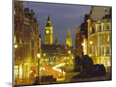 Evening View from Trafalgar Square Down Whitehall with Big Ben in the Background, London, England-Roy Rainford-Mounted Photographic Print
