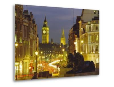 Evening View from Trafalgar Square Down Whitehall with Big Ben in the Background, London, England-Roy Rainford-Metal Print