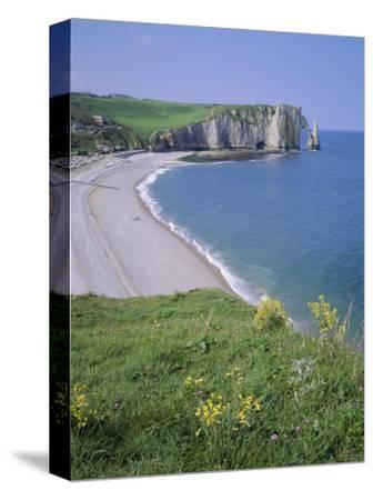 Bay and Cliffs, Etretat, Cote d'Albatre (Alabaster Coast), Haute Normandie (Normandy), France-Roy Rainford-Stretched Canvas Print