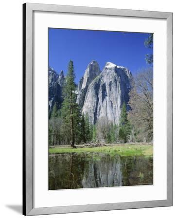 Cathedral Rocks Reflected in Water, California, USA-Roy Rainford-Framed Photographic Print